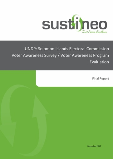 UNDP: Solomon Islands Electoral Commission Voter Awareness Survey/Voter Awareness Program Evaluation